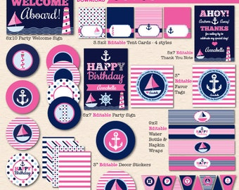 """Girls' Pink & Navy """"Sail Away"""" Nautical Birthday Party - DIY/Printable Complete Party Pack- Instant Download PDF File"""