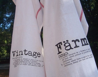 Vintage and Farm  Kitchen Towels, Rustic Farm Towels, Set of 2