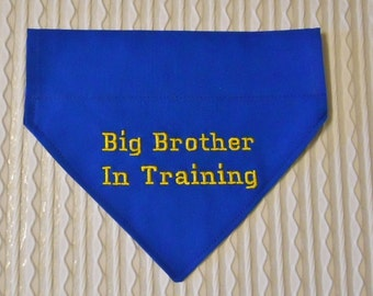 Big BROTHER In Training Dog Bandana COLLAR Style Sizes S to XL Choice of Fabric