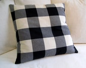 24x24 CASUAL CHIC cotton Black n cream Buffalo check large PILLOW cover