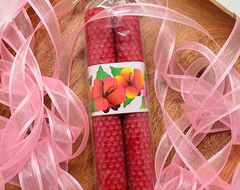 Hibiscus Candles Red Candles Hand Rolled Beeswax Candle Pair Dinner Tapers Flowers Hibiscus Gift Hawaiian Candles Handmade Made in Hawaii