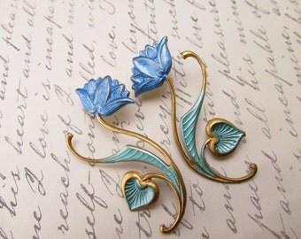 Lotus Earrings Art Nouveau Pierced earrings Victorian Lightweight earrings vintage post earrings