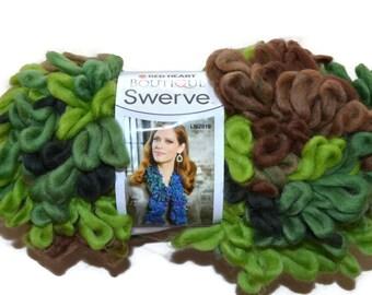 Red Heart Swerve Yarn, Woodland, Camo Color Yarn, Camo Yarn, Green Loopy Yarn, Woodland Yarn, Swerve Yarn