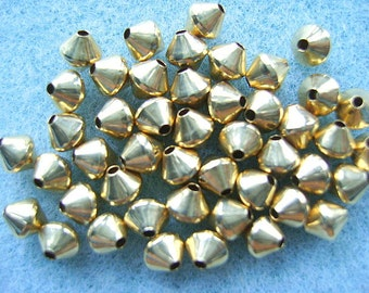 Beads ,14k Gold Filled, Bi-cone, 5mm, Diamond, Smooth, 10,25 or 50 Pieces, Spacer, I