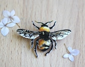 Bumble Bee Brooch Hand Painted Pin Insect Honey