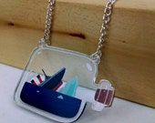 Sinking Titanic Ship in a Bottle clear acrylic charm necklace