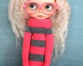 blythechic grey & pink knit dress with extra long sleeves