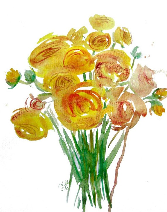 Watercolor flower painting-Golden Ranunculus Bouquet-original- by Gretchen Kelly