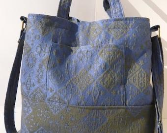 Original Handmade Blue Green Woven Fabric Tote Purse