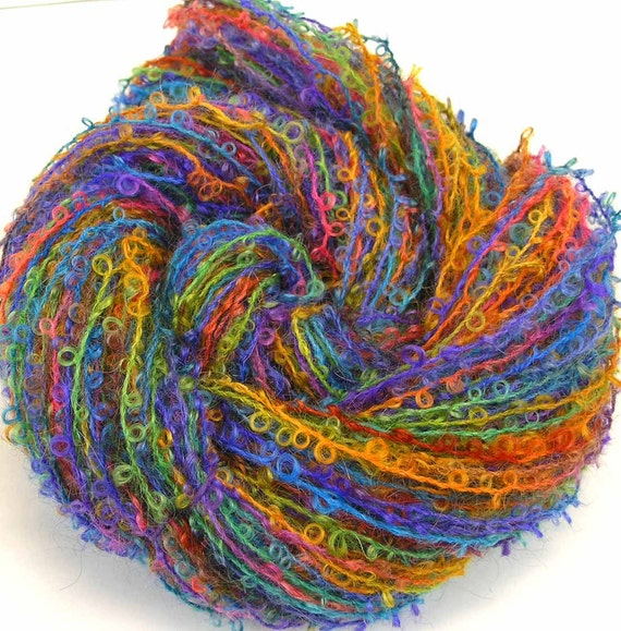 Boucle Yarn : Boucle Yarn Hand Dyed Wool Yarn Fiesta by FiberFusion on Etsy