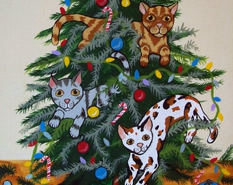 """Cats Kitty """"Cats in the Christmas Tree"""" Fun Whimsical Modern Folk Art Print Multiple Sizes Available Artist Julie Ellison"""