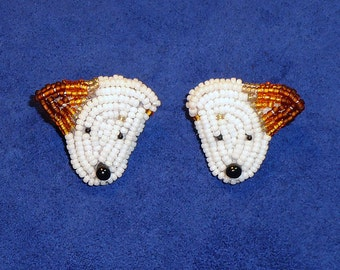 JACK RUSSELL Terrier beaded sterling silver post earrings bead embroidery animal jewelry- Gift for Her / Ready to Ship