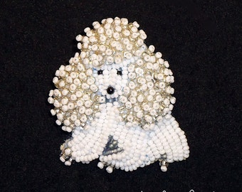 Tiny Beaded MINIATURE POODLE dog pin pendant animal jewelry (Made to Order) Free US Shipping