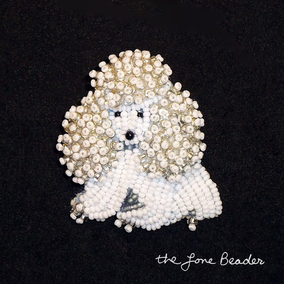 Tiny Beaded MINIATURE POODLE dog pin pendant animal jewelry (Made to Order)