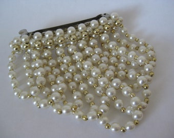 Chunky Pearl Gold Barrette Vintage Dangle White