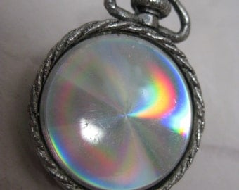 Pocket Watch Rainbow Brooch Silver Vintage Pin