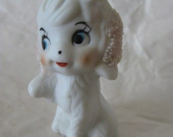 Dog Puppy White Figurine Miniature Vintage Porcelain Flower