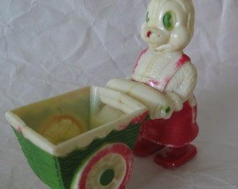 Bunny Rabbit Easter Ramp Walker Green Red Wagon Cart Toy Plastic Vintage