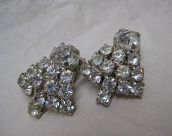 Rhinestone Silver Clear Earrings Clip Vintage