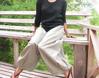 At ease Full length Linen  Pants (135 B) One Size /Funky pants/Hippie pants/Harem pants