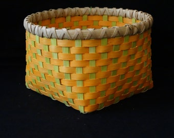 Hand Woven Basket in Sunshine Orange and Chartreuse. Storage Basket.  Hand Made Baskets in fun colors!