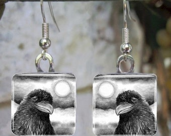 Art Glass Earrings Jewelry square or round Bird 64 crow raven drawing by L.Dumas