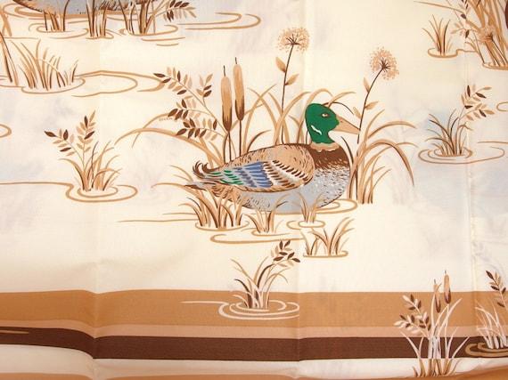 Vintage mallard duck and cattails shower curtain by bythewayside