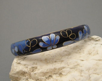 Vintage Wide Bangle Bracelet Enamel Blue Floral Jewelry  B5560