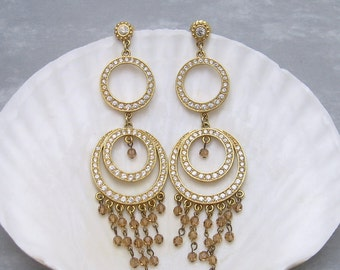 Shoulder Duster Rhinestone Earrings Long Dangly Earrings E6047