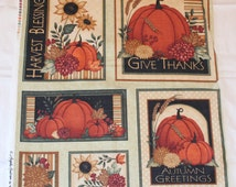 Fall Thanksgiving Give Thanks Autumn Blessings 100% cotton fabric 6 block PANEL - free shipping to USA - Angela Anderson for VIP Exclusive