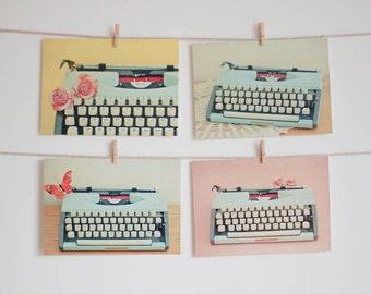 Postcard Set, Typewriter Photography, Still Life Photo, Preppy, Mustard Yellow, Pastel Pink and Blue, Retro, Affordable Art - Typewriter