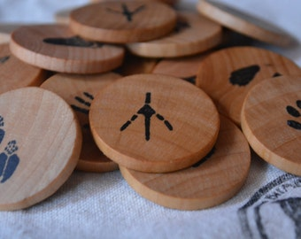 Wooden Coin Memory Matching Game - Animal Prints Theme