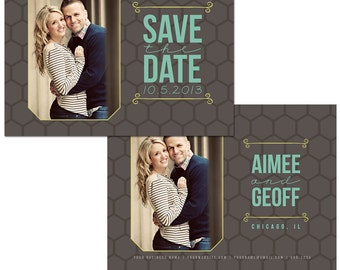 Save the Date Card | Photoshop Template for Photographers | Instant Download | Fully Customizable | Honeycomb Hexagon | CS4004c