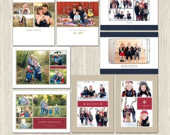Christmas Collage Vol 2 Holiday Card Photoshop Templates for Photographers   CS6026 Instant Download