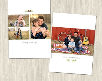 Simple Classic Elegant Collage Holiday Card Photoshop Template for Photographers   White Pinecones   CS6026d Instant Download