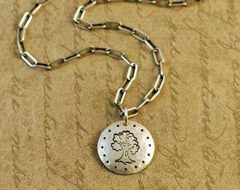"""5/8"""" Sterling Silver Hammered Handstamped Oxidized Disk Round Charm with a Tree of Life"""