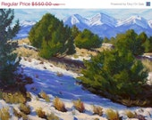 15% OFF cyber monday Pinons and Mountains 30x40 Original LARGE Plein Air landscape Oil Painting Impressionism