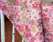 Pink Daisy Garden- Vintage Fabric Mod Flowers Juvenile Floral Novelty Colorful 36 in wide