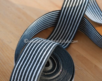 3 yards Striped Belting- Vintage Trim Juvenile 70s 80s New Old Stock Fun Stretchy Black and White