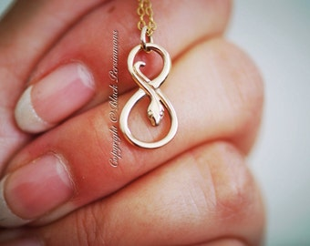 Infinity Snake Necklace - Natural Bronze Charm Pendant - Free Domestic Shipping