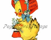 Easter 1 a Sweet Girly Chick a Digital Image from Vintage Greeting Cards - Instant Download
