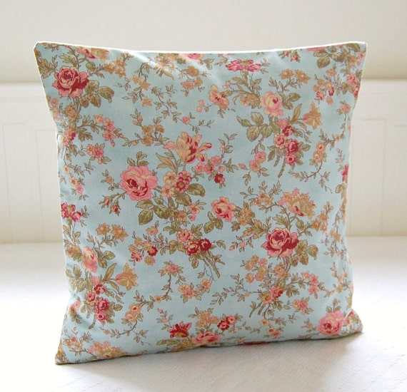 blue rose pink decorative pillow cover 16 inch pink roses