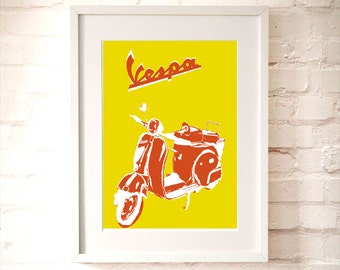 Vespa Scooter Print - Fine art print, Modern decor scooter, bike print, Vespa art, Yellow Vespa, Red Vespa
