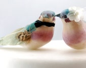 Charming Love Bird Wedding Cake Topper in Teal Green and Orchid Purple: Bride and Groom Cake Topper -- LoveNesting Cake Toppers