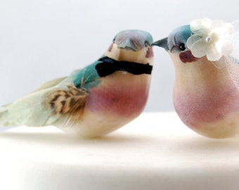 Charming Love Bird Wedding Cake Topper in Teal Green and Orchid Purple: Bride & Groom Cake Topper