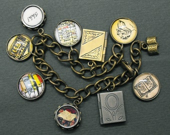 Librarian Charm Bracelet Library Jewelry Book Bookish Literary