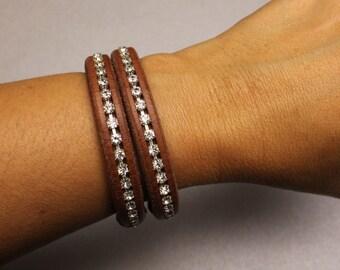 Sparkling Crystals Leather Bracelets