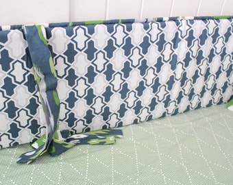 Blue and Green Crib Bedding Geometric Baby Nursery Set Ready to Ship - Ikebana by Dear Stella