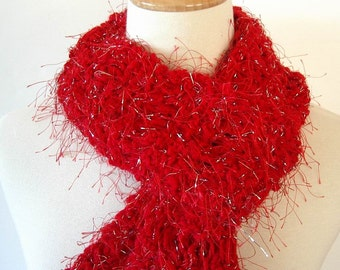 Women's Red and Silver Knitted Fashion Scarf Ladder Stitch SALE PRICE