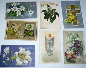 7 Antique Postcards -Easter Themed- for Collecting, Altered Art, Scrapbooking, Crafts